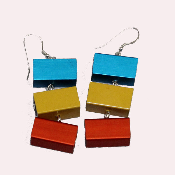 Christina Brampti Earrings, 3 Cubes, Aqua/Yellow/Orange