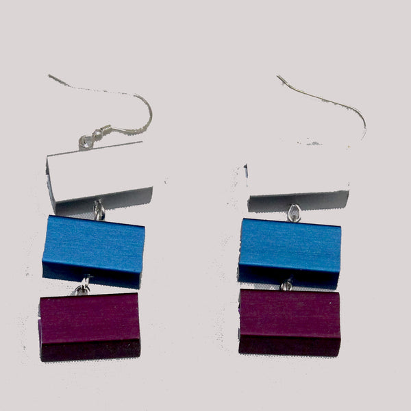 Christina Brampti Earrings, 3 Cubes, Plum/Blue/Silver