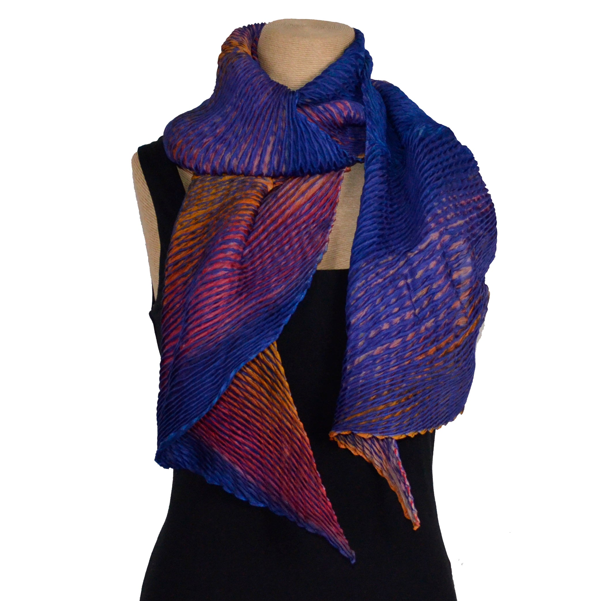 Cathayana Scarf, Zigzag, Midnight Blue/Golden/Orange