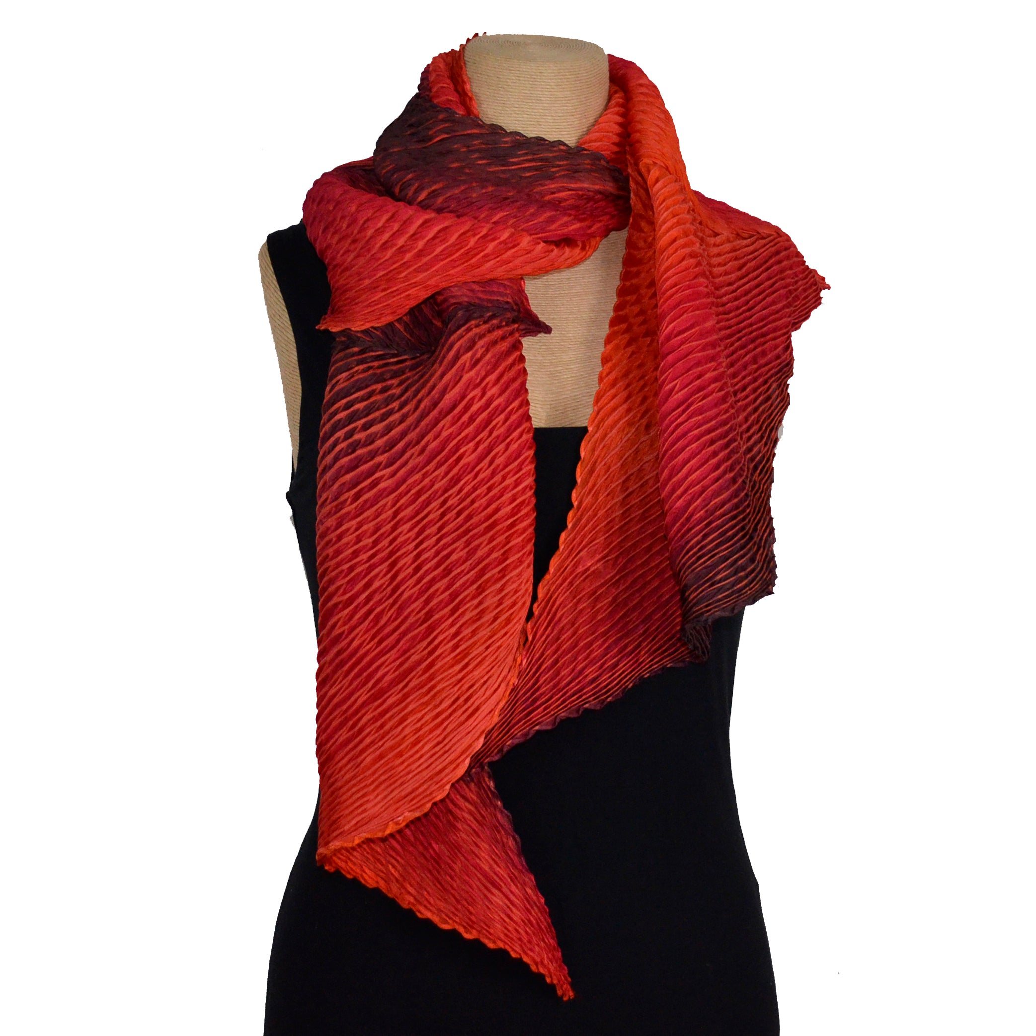 Cathayana Scarf, Zigzag, Red/Black
