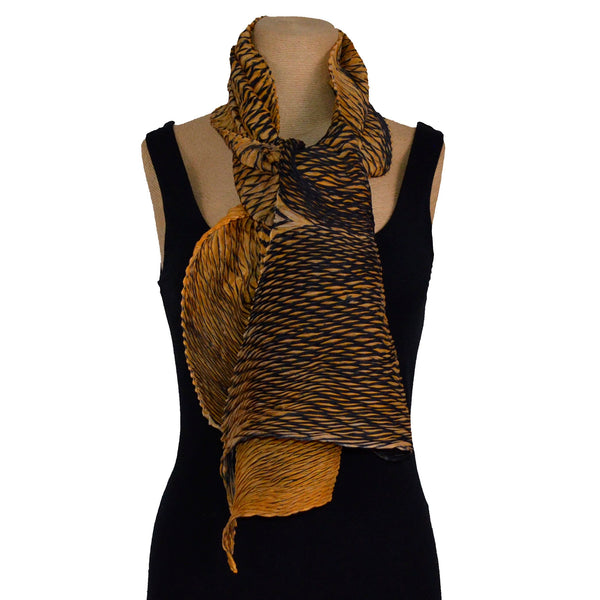 Cathayana Scarf, Zigzag, Black/Gold