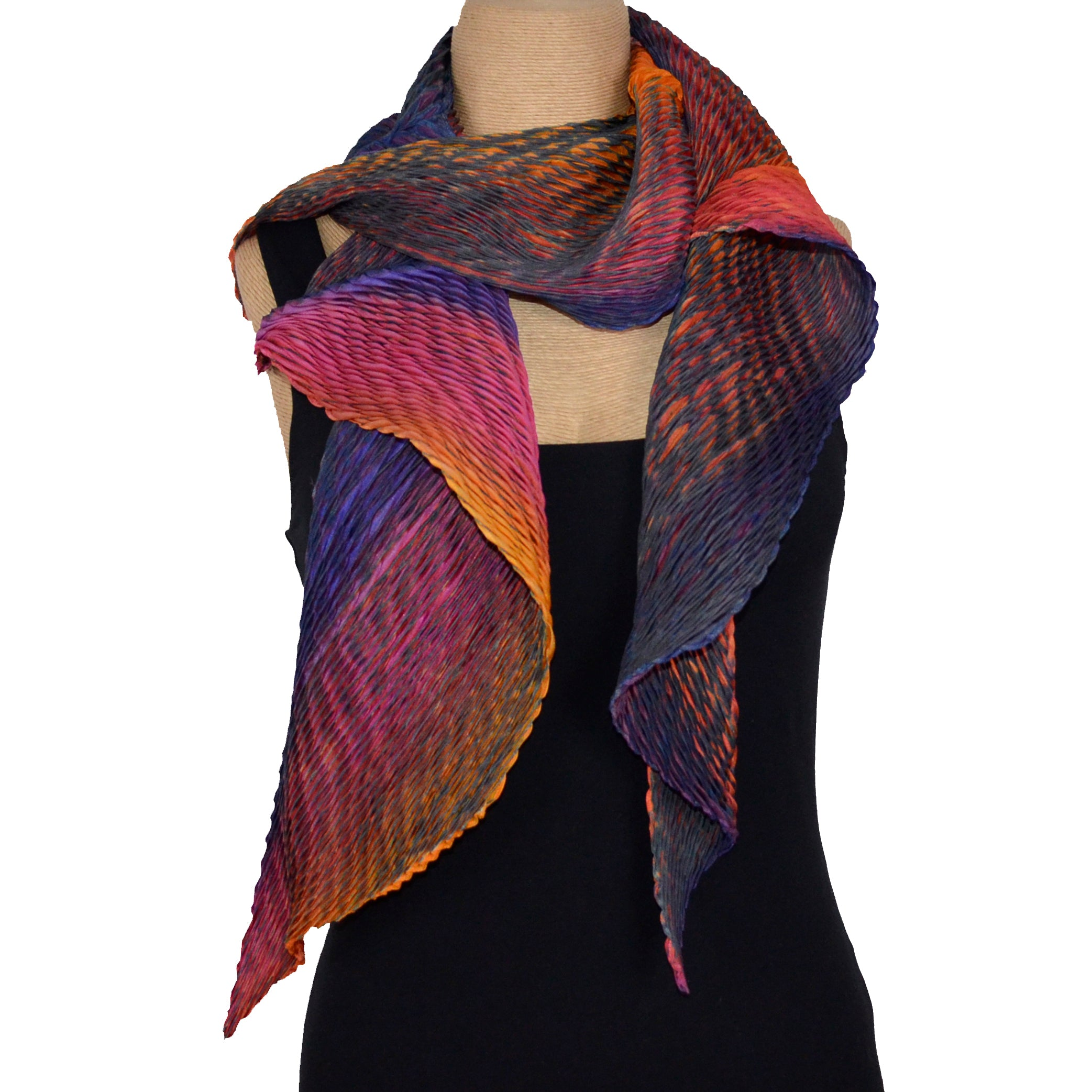Cathayana Scarf, Zigzag, Purple/Orange/Red/Grey
