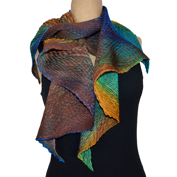 Cathayana Scarf, Zigzag, Brown/Blue/Turquoise