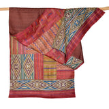 Darshan Shah Stole, Multi Colored Kantha Diamonds on Rust Tussar Silk