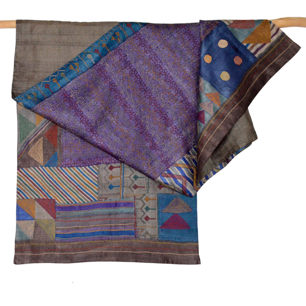 Darshan Shah Stole, Multi Colored Kantha Stripes on Brown Tussar Silk