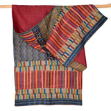 Darshan Shah Stole, Multi Colored Kantha Pattern on Red Tussar Silk
