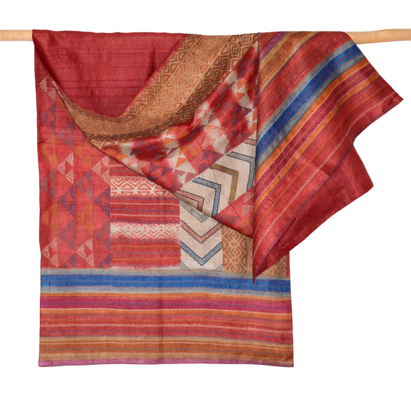 Darshan Shah Stole, Multi Colored Kantha Pattern on Red and Orange Tussar Silk