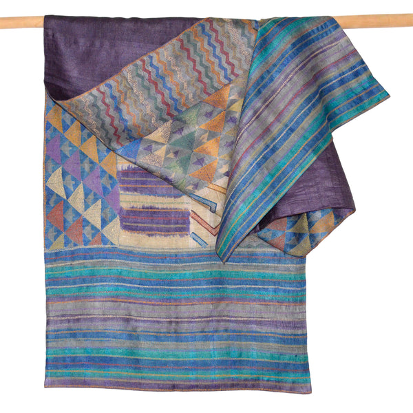 Darshan Shah Stole, Multi Colored Kantha Pattern on Purple Tussar Silk