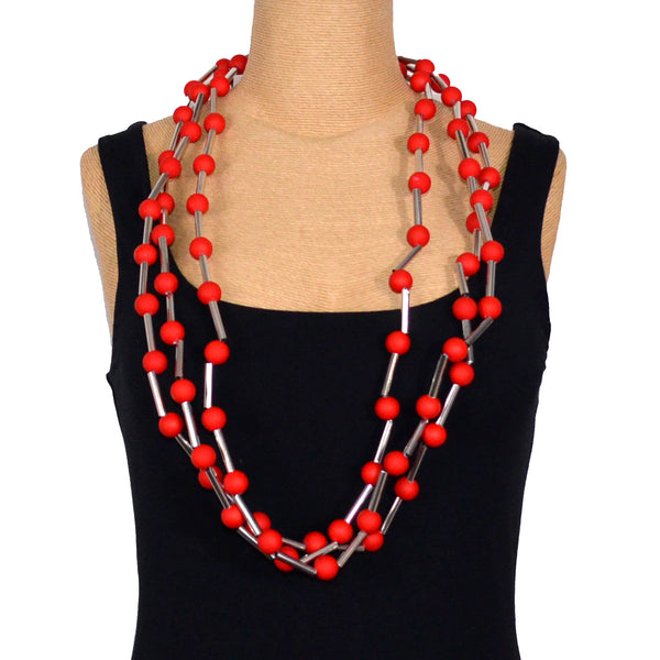 Carla M Necklace, Red Balls