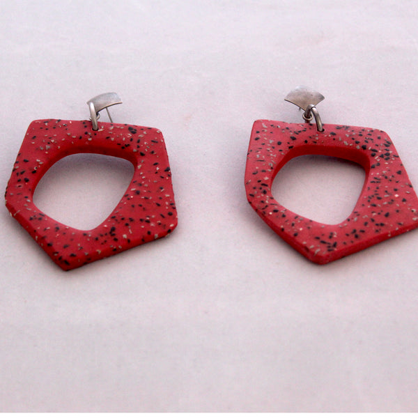 Gily Ilan Earrings, Mali, Red Terrazzo