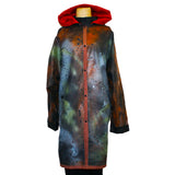 Iris Mansard Raincoat, Hooded, Bronze/Gray/Lime, Sz 16-18