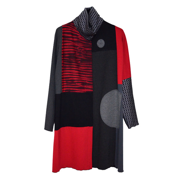 Herzenberg Coat, Cotton Ponté Shibori, Red, M