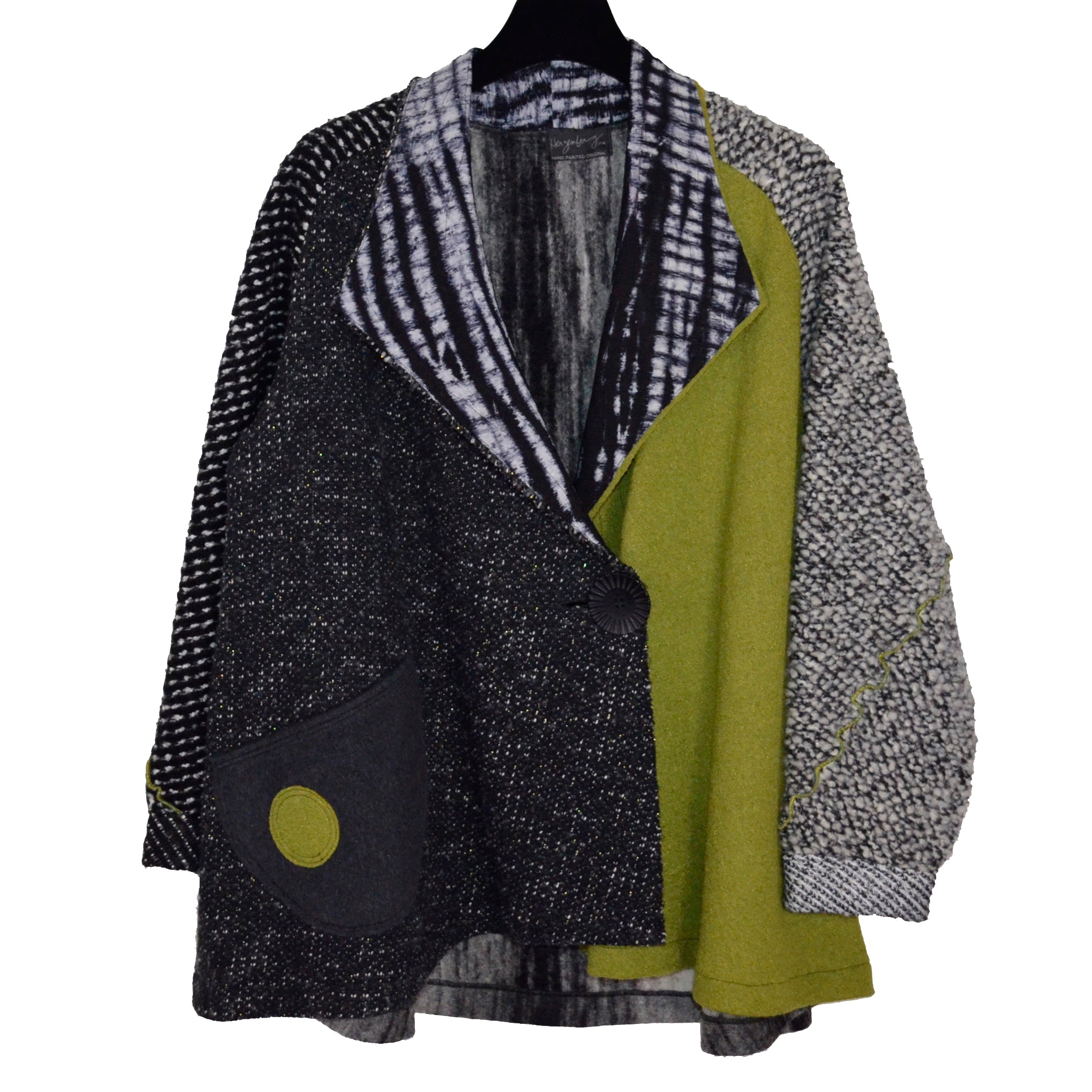 Herzenberg Coat, Swing Shibori, Green Wool, OS