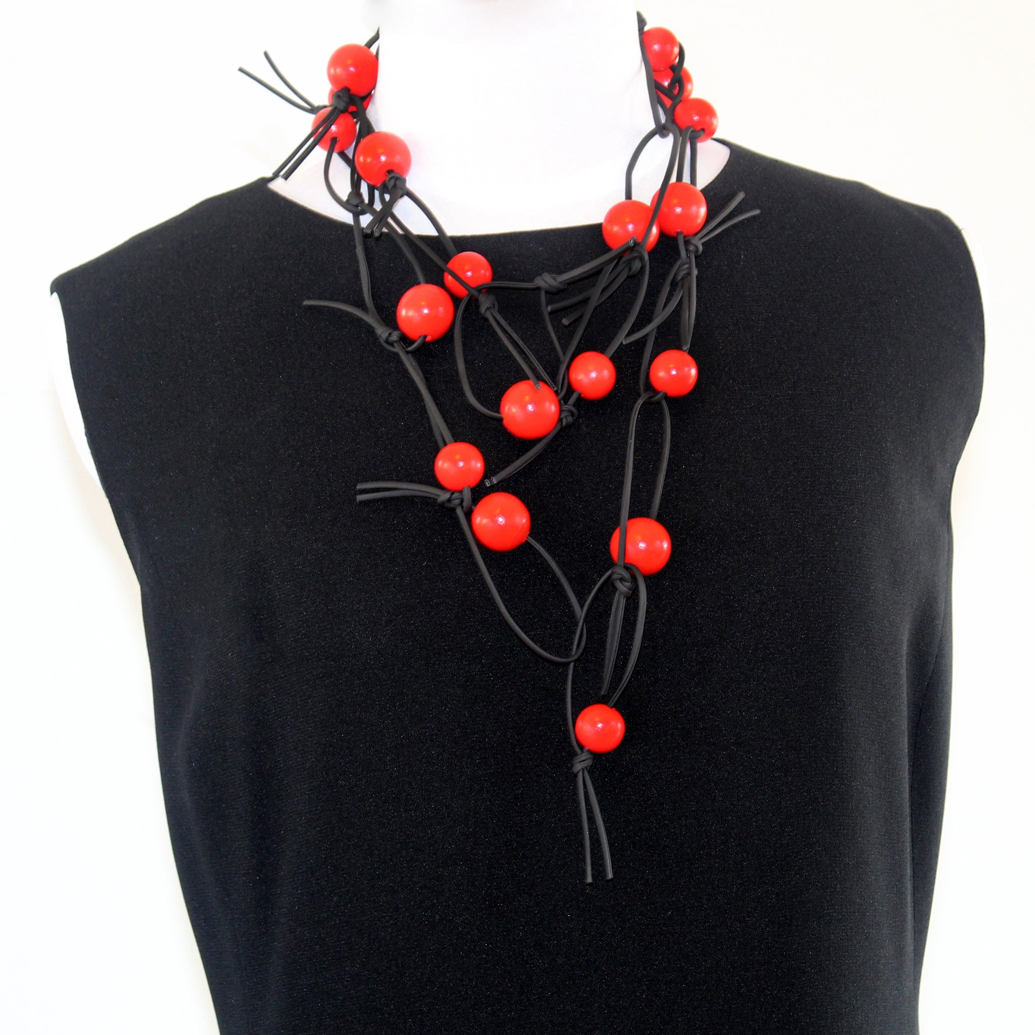 Jianhui Necklace, Beads, Long, Red