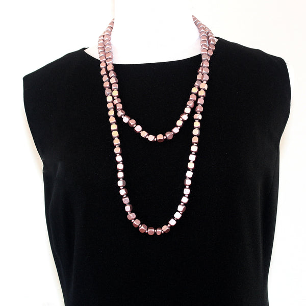 Jianhui Necklace, Square Beads, Long, Lilac