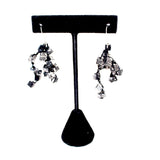 Jianhui Earrings, Cubes, Short, Black With Silver Flecks