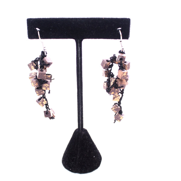 Jianhui Earrings, Cubes, Short, Gold With Black Flecks