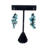 Jianhui Earrings, Cubes, Short, Aqua With Gold Flecks