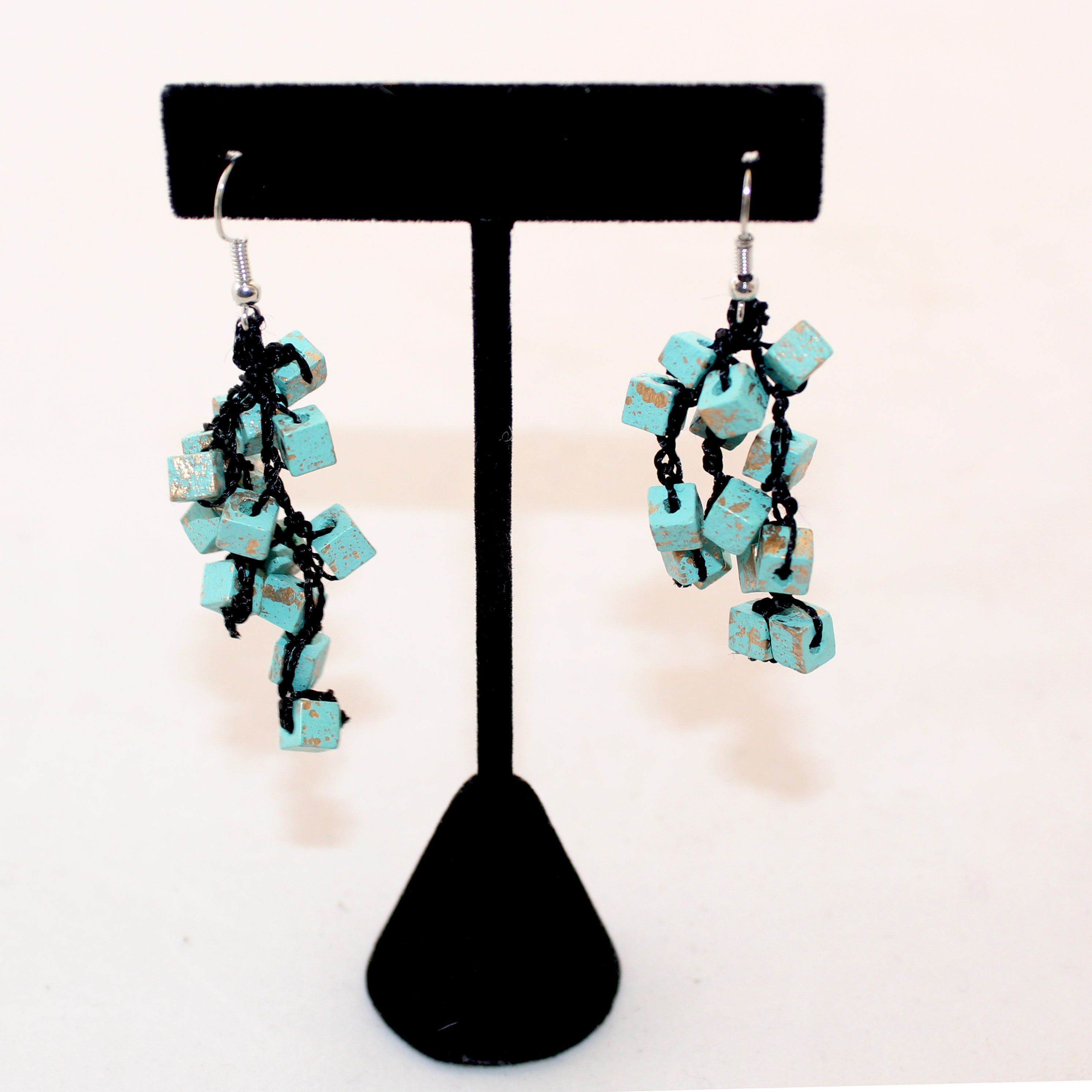 Jianhui Earrings, Cubes, Short, Turquoise With Gold Flecks
