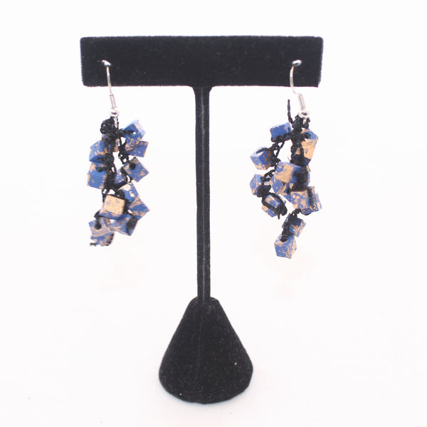 Jianhui Earrings, Cubes, Short, Royal Blue With Gold Flecks