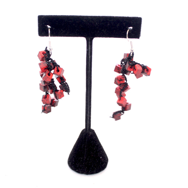Jianhui Earrings, Cubes, Short, Red With Black Flecks