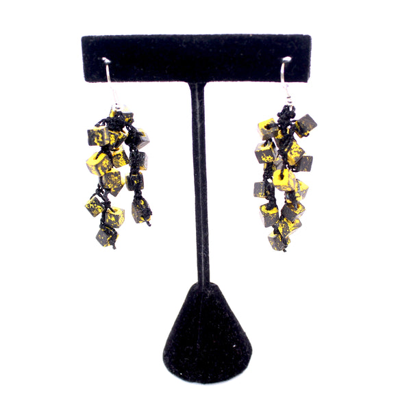 Jianhui Earrings, Cubes, Short, Yellow and Black