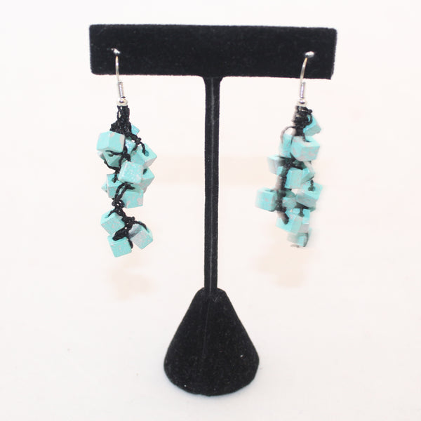 Jianhui Earrings, Cubes, Short, Turquoise With Silver Flecks