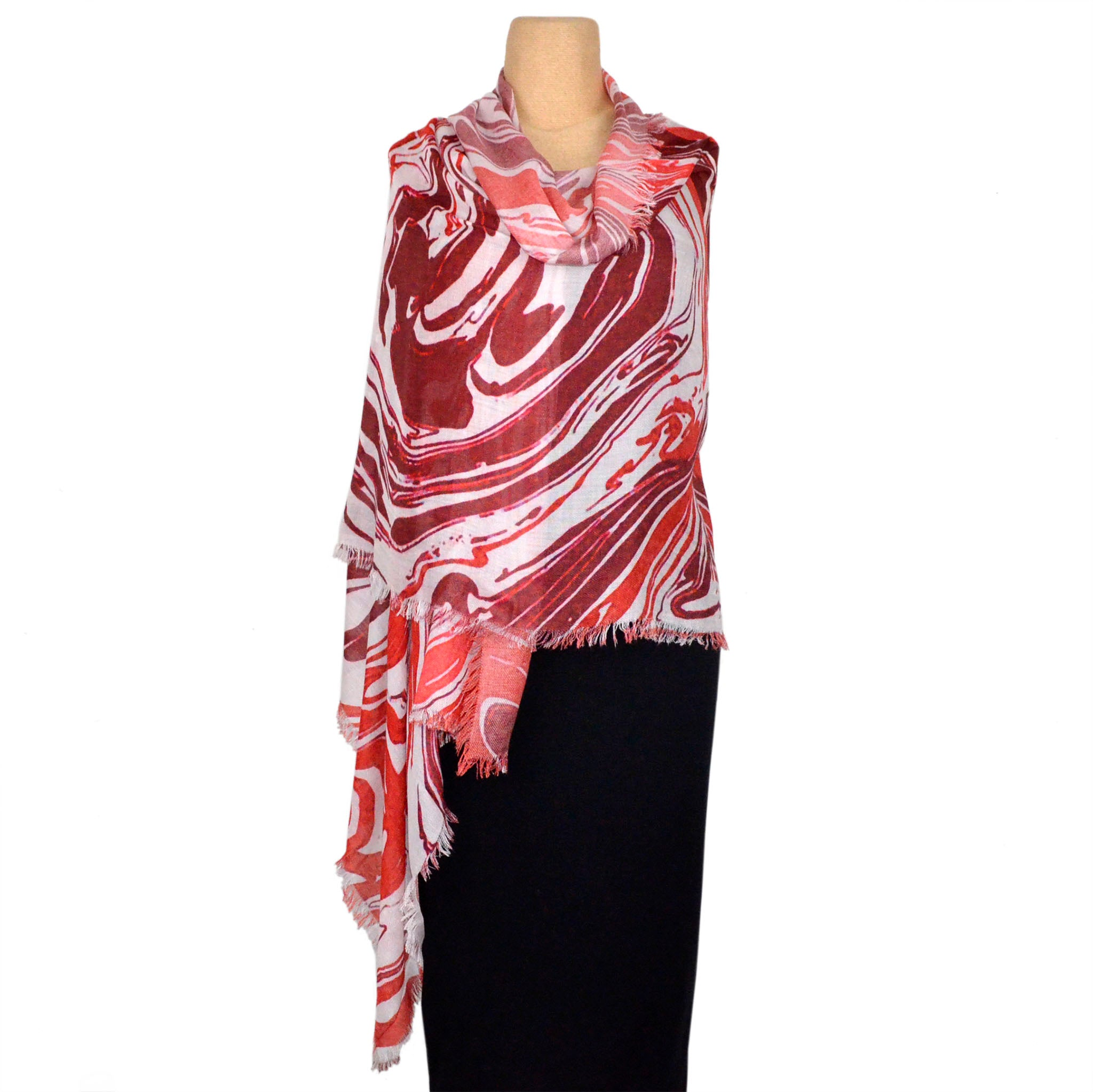 Kala Scarf, Modal, Red/Cream