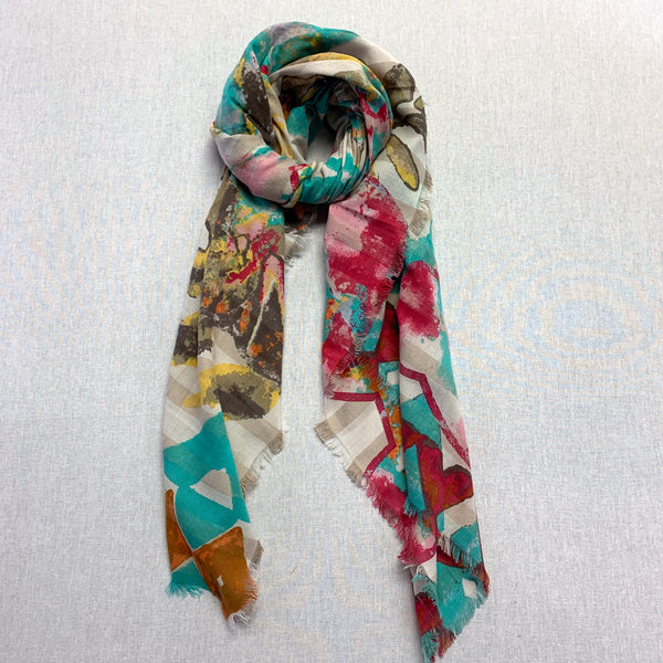 Kala Scarf, Brick Red/Blue