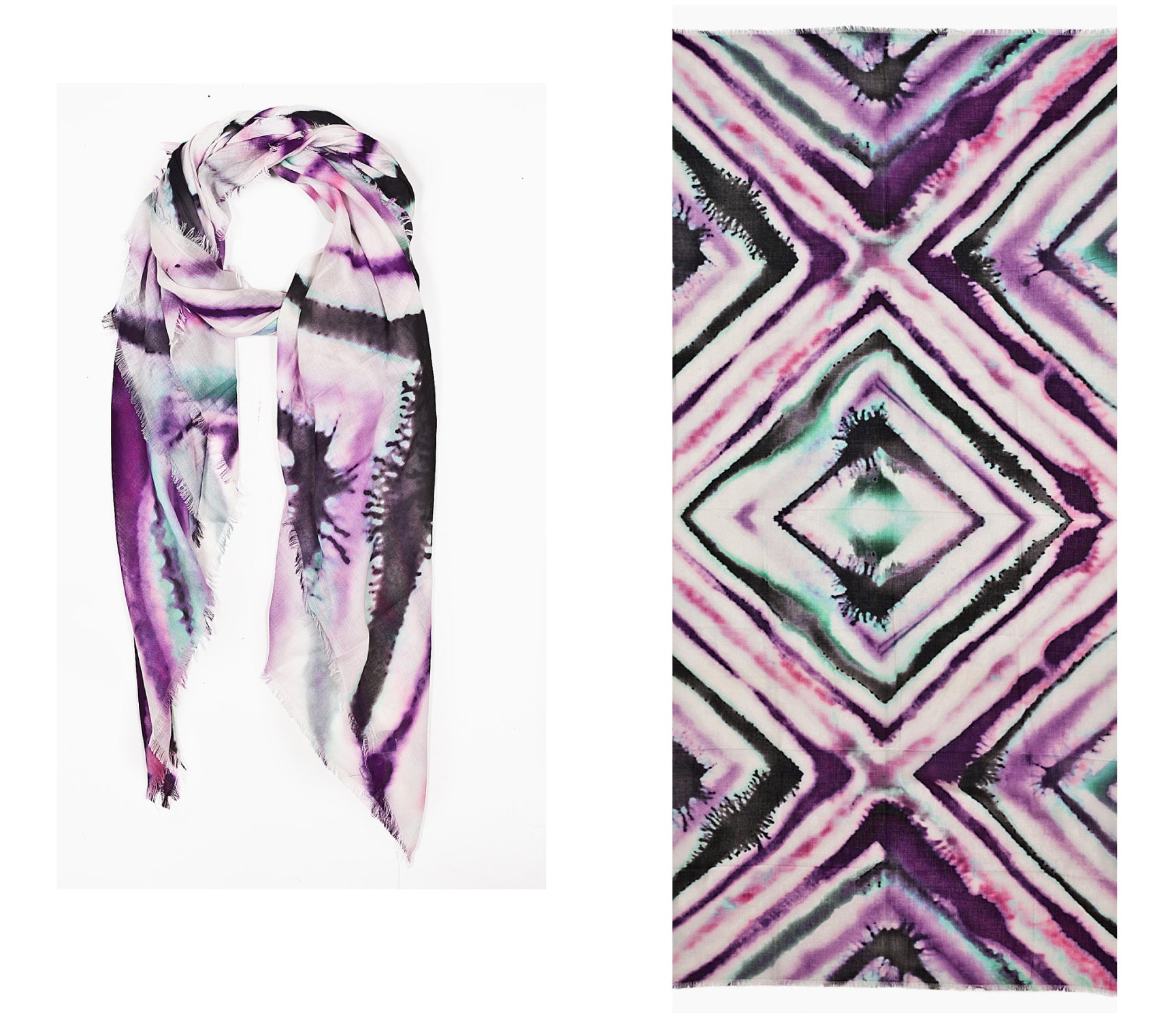 Kala Scarf, Ikat, Purple