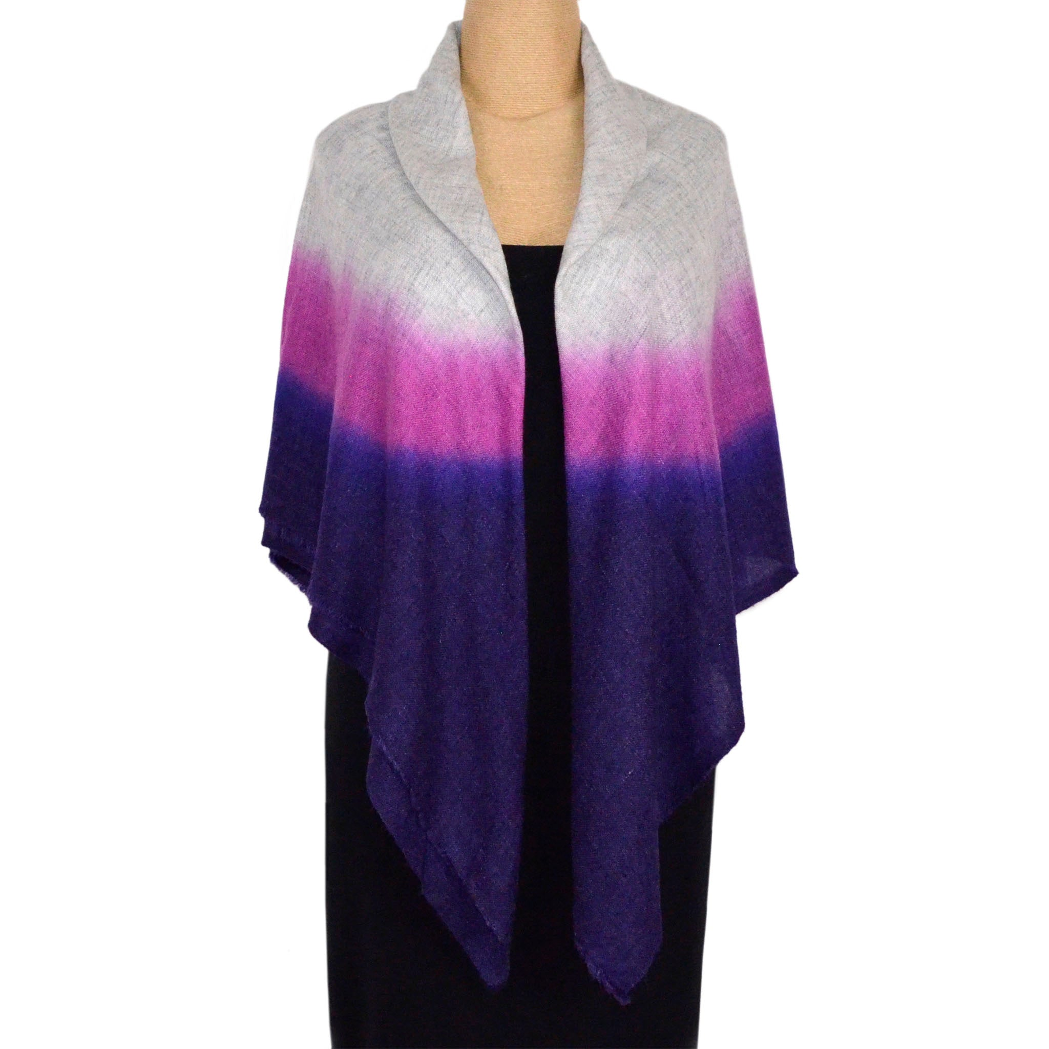 Kala Designs Scarf/Shawl, Cashmere, Hand Painted, Ombre Purple