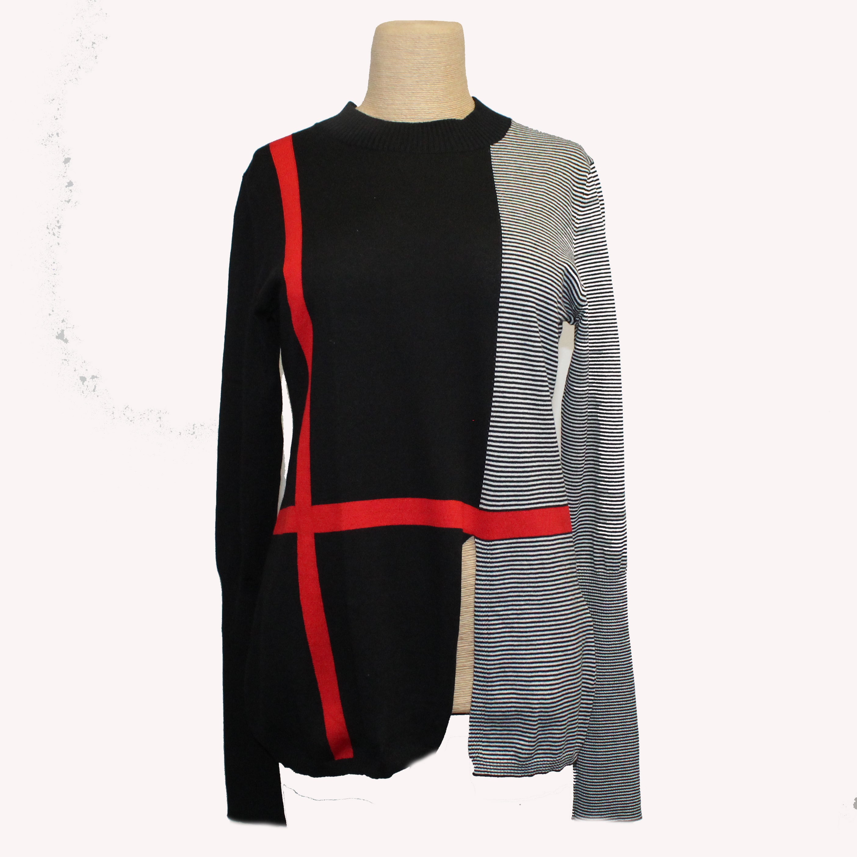 Kim Bernardin Sweater, Crew Neck, Red/Black/White, XS