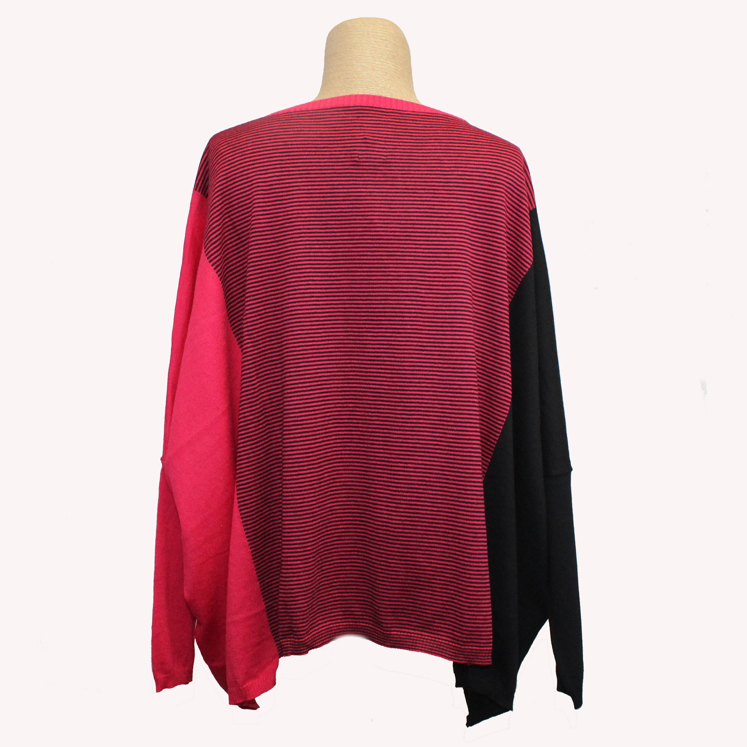 Kim Bernardin Sweater, Round Neck, Red/Black, OS (Fits S-L)