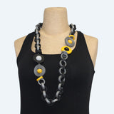 Klamir Necklace, Black/Grey/Yellow