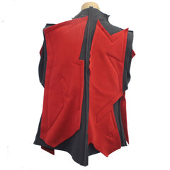 Mary Stackhouse Vest, Quilted, Grey/Red, S/M