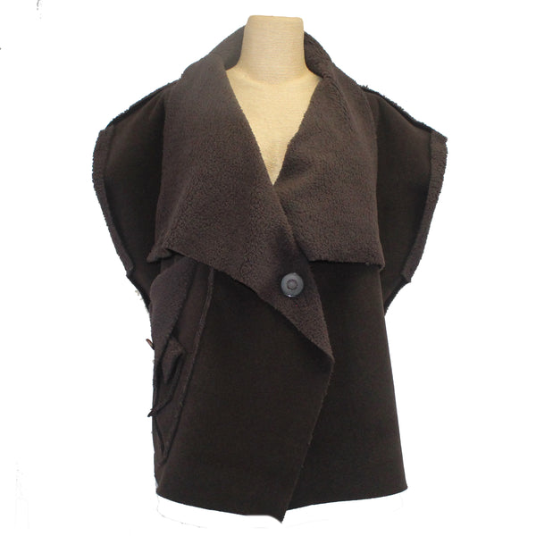 Mary Stackhouse Vest, High Neck, Soft Brown, L