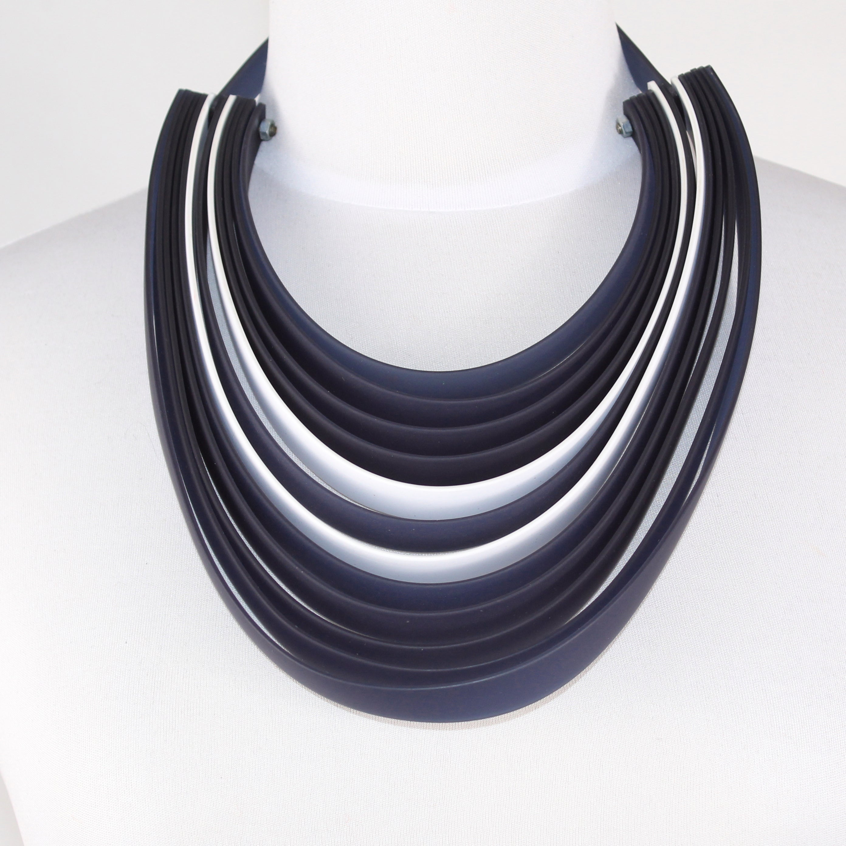 Michaela Malin Necklace, Michelle, Navy/White