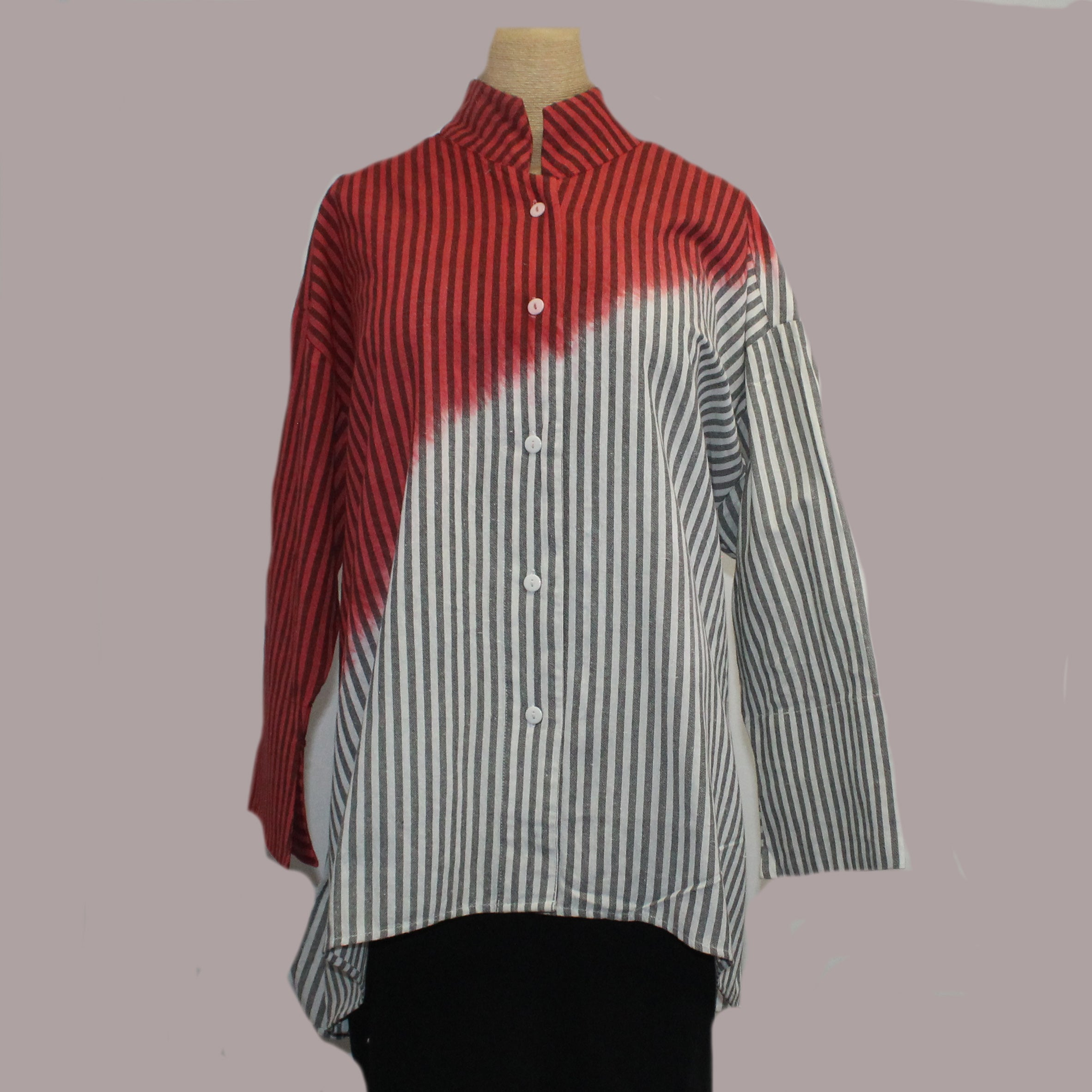 M Square Shirt, Long, Red
