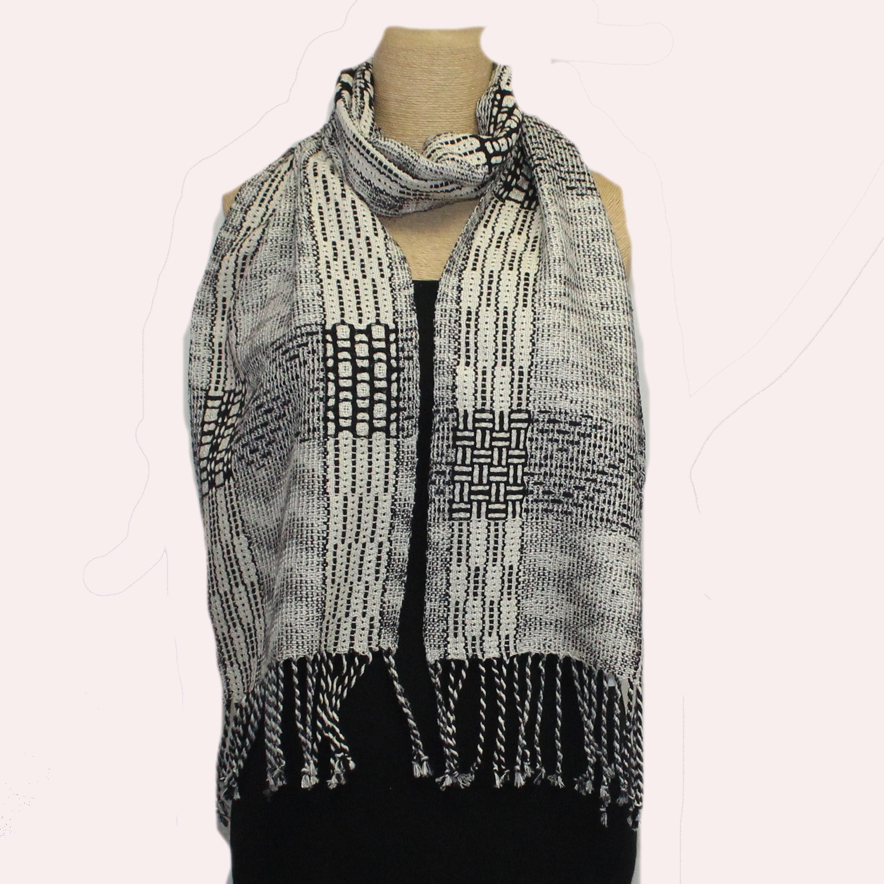 Muffy Young Scarf, Blocks & Echo, Black/White/Grey