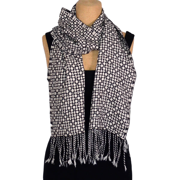 Muffy Young Scarf, Mosaic Plus, Black/ White