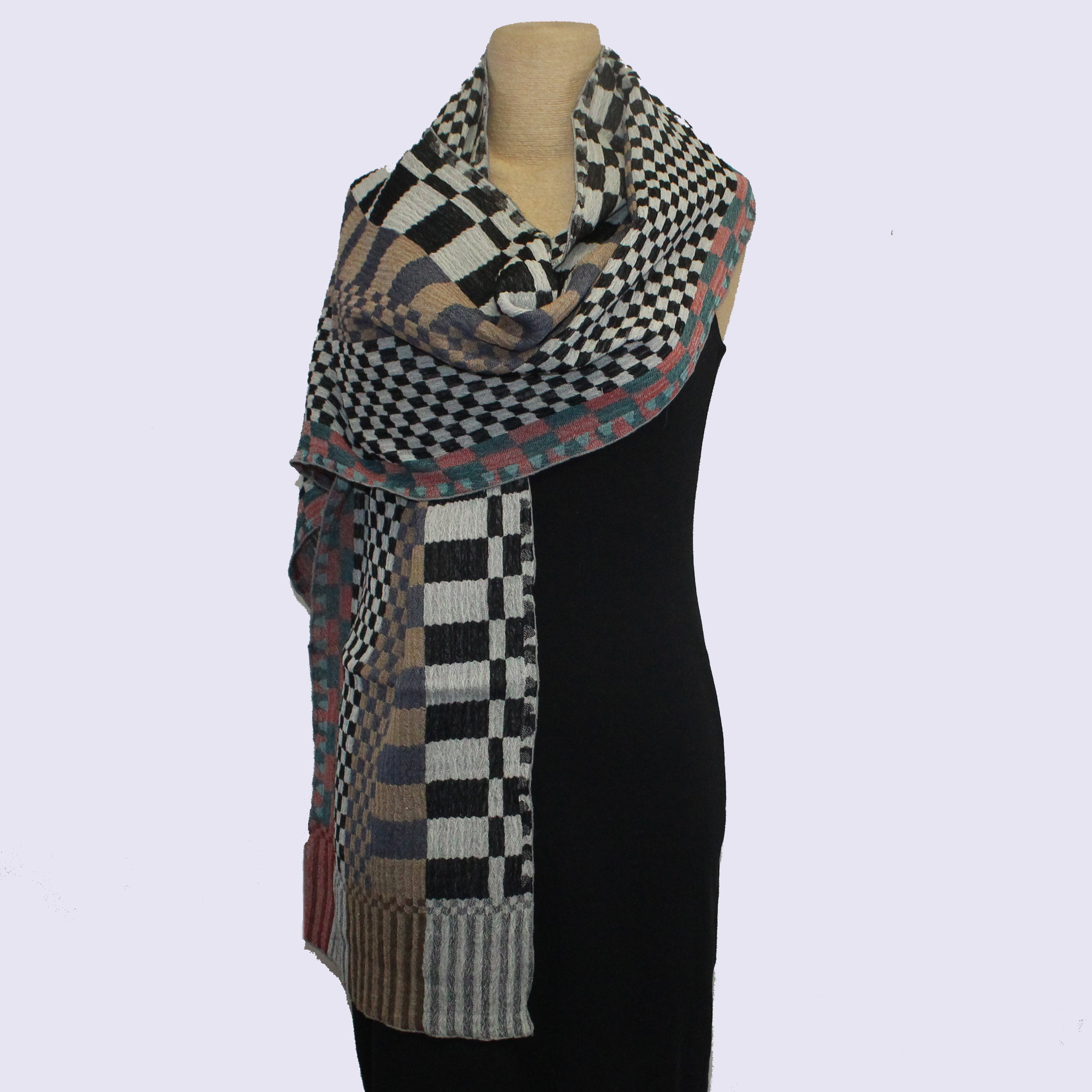 Nuno Shawl, Narrow, Checkered Check, Multicolored
