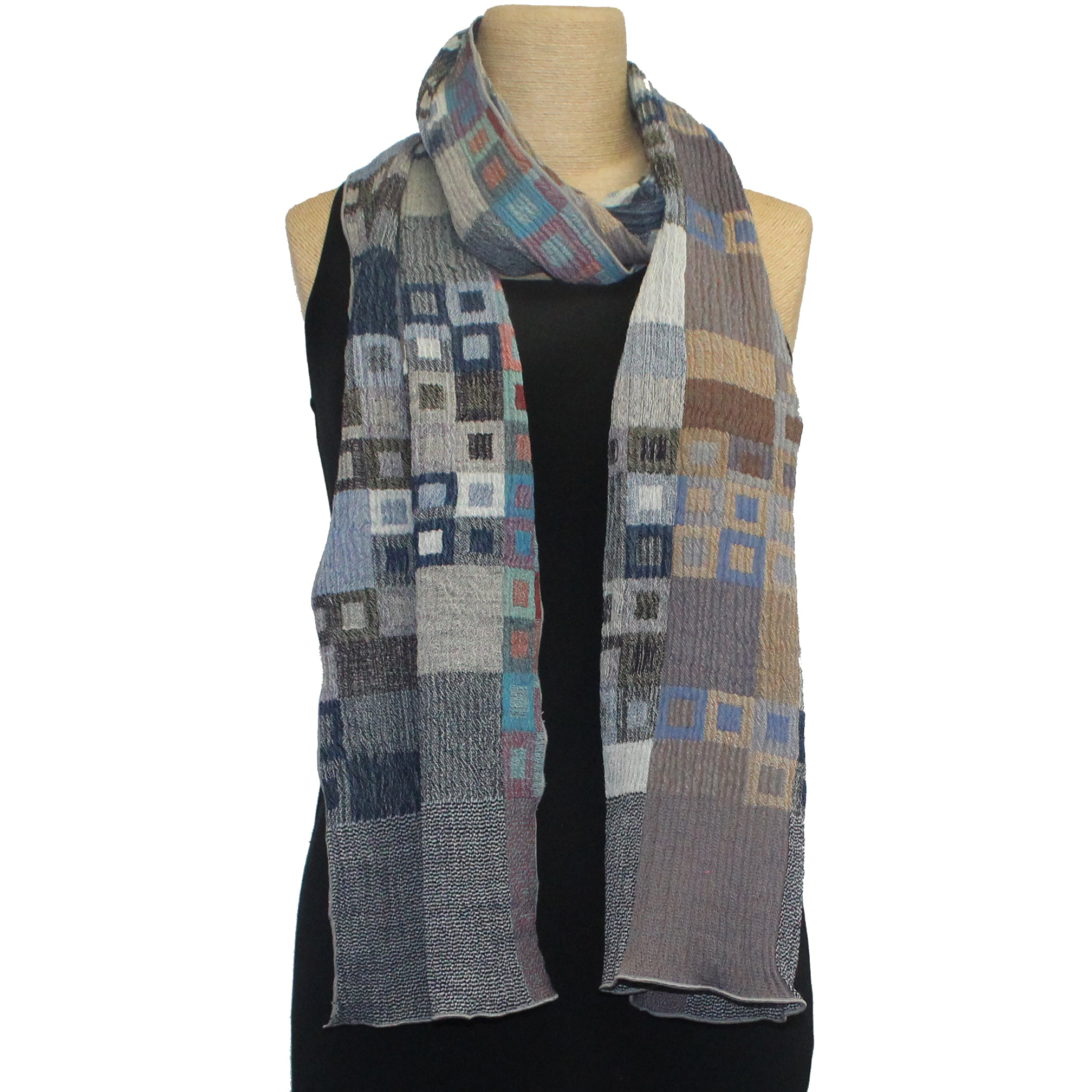 Nuno Shawl, Half Size, Glass Mosaic, Blue Mix