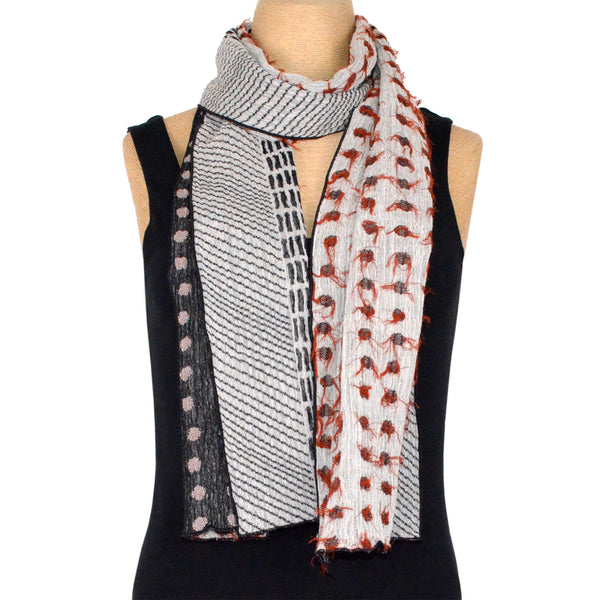 Nuno Shawl, Half Size, Lentils, Red, White, and Black