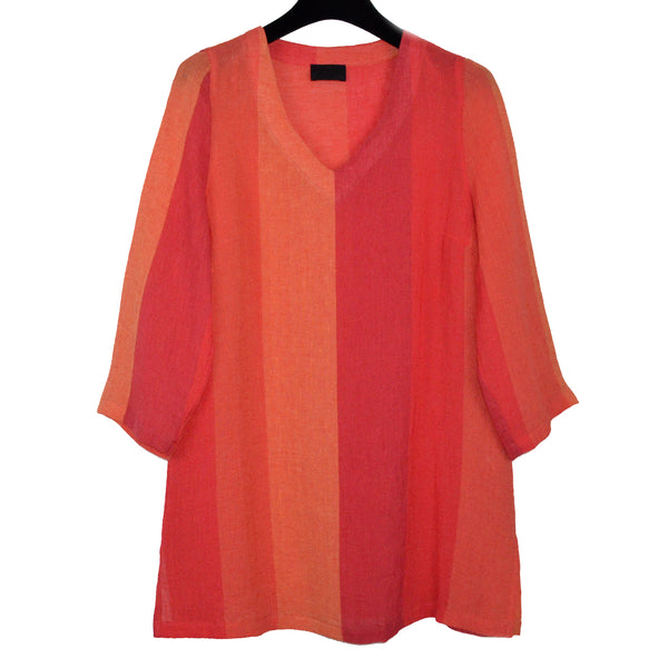 Q'neel Linen Tunic, Orange Stripes, Size 6
