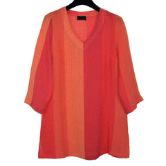 Q'neel Linen Tunic, Orange Stripes