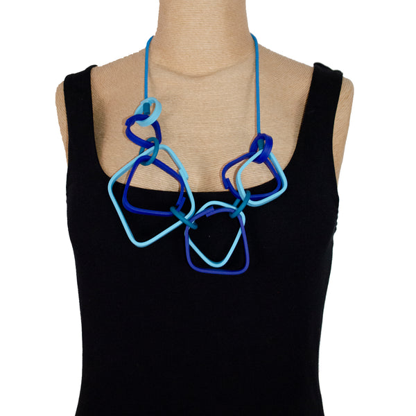 Samuel Coraux Necklace, Squares, Blues