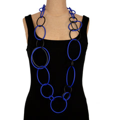 Samuel Coraux Necklace, Large/Small Rubber Circles (More Colors)