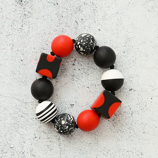 Sylca Designs Bracelet, Geometric, Black/White/Red