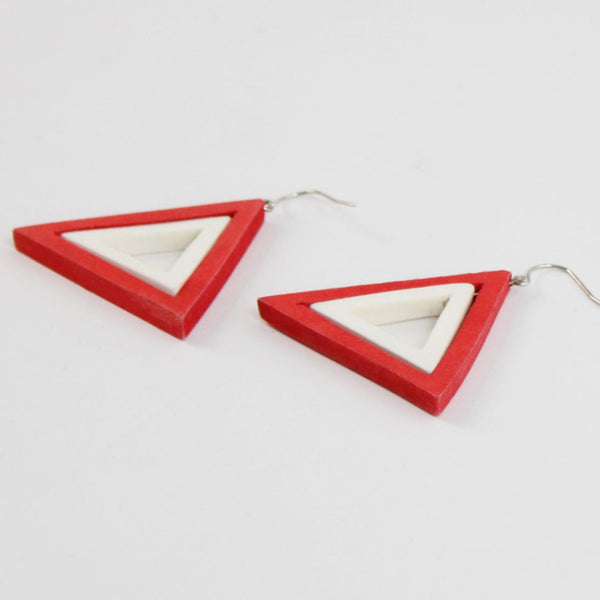 Sylca Designs Earrings, Dual Color Triangle, Fiery Red