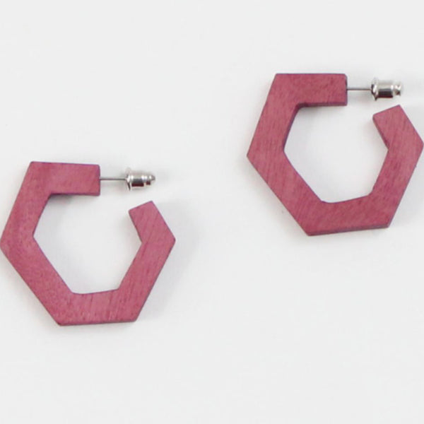 Sylca Designs Earrings, Geometric Hoop, Pink